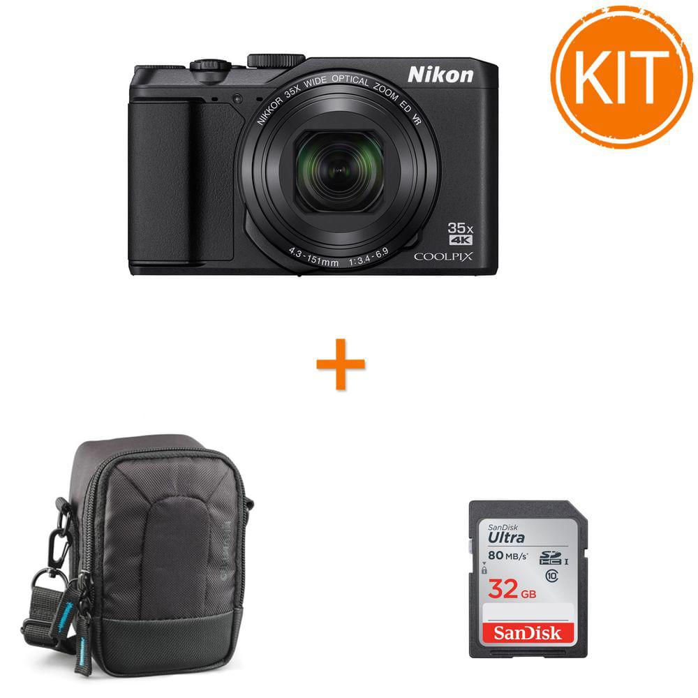 Kit-Nikon-Coolpix-A900--Negru---card-SDHC-Ultra-32GB-80MB-Sandisk---husa-foto-Cullmann-Ultralight-Pro
