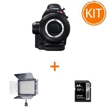 Kit-Profesional-Video-Eveniment-cu-Camera-Canon-EOS-C100---Lampa-Video-300-LED-uri---Card-SDXC-64Gb
