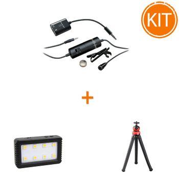 Kit-Vlogger-Smart-cu-Microfon-Lavaliera----Lampa-LED---Minitrepied-Flexibil