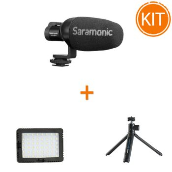 Kit-Vlogger-Compact-cu-Microfon-Condenser-Directional---Lampa-LED---Minitrepied-cu-Cap-Mobil