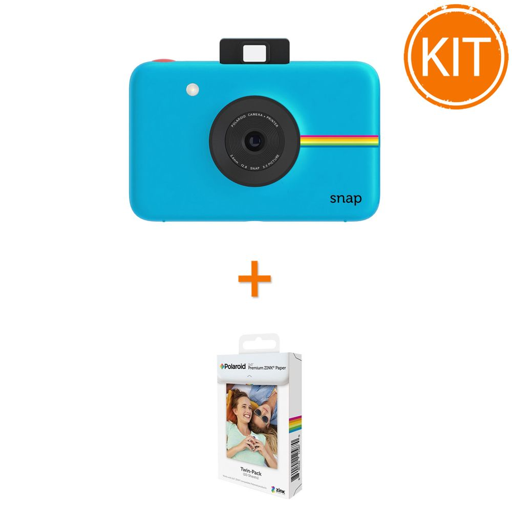 Kit-Aparat-Foto-Polaroid-Instant-Snap-Digital-Albastru---Polaroid-Instant-Zink-Premium-Pachet-20-Hartii-Foto