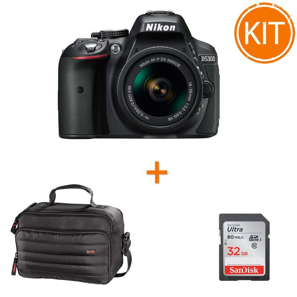 Kit-Nikon-D5300-Kit--AF-P-18-55mm-VR-Negru---card-SDHC-Ultra-32GB-80MB-Sandisk---Geanta-Foto-Hama-Syscase-140