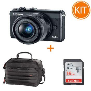 Kit-Canon-EOS-M100-cu-Obiectiv-15-45-F-3.5-6.3---Card-SanDisk-SDHC-Ultra-16GB----Geanta-Hama-Syscase-140