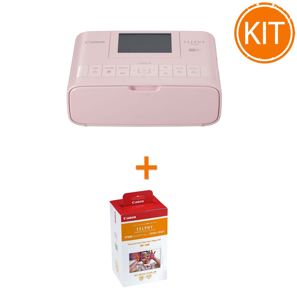 Kit-Canon-Selphy-CP-1300-Roz---Set-Hartie-si-Toner-RP-108