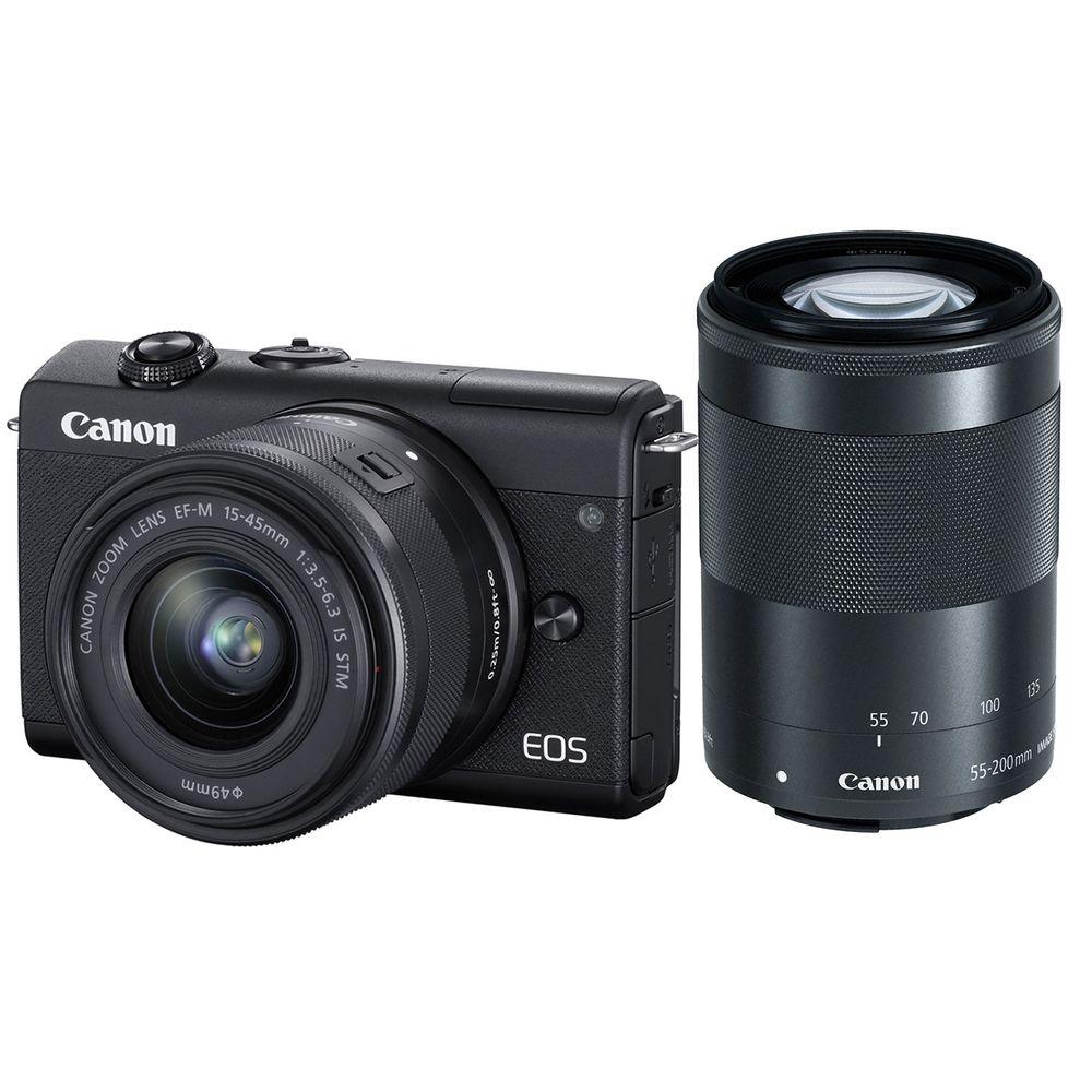 Canon-EOS-M200-Aparat-Foto-Mirrorless-24.1MP-4K-Kit-cu-Obiectiv-55-200mm-F4.5-6.3-IS---15-45mm-F3.5-6.3-Negru
