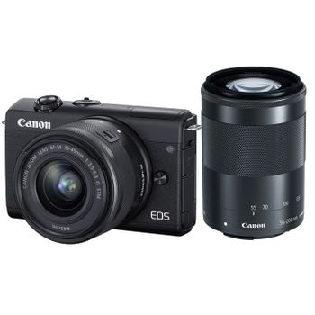 Canon-EOS-M200-Aparat-Foto-Mirrorless-24.1MP-4K-Kit-cu-Obiectiv-55-200mm-F4.5-6.3-IS---15-45mm-F3.5-6.3-Negru