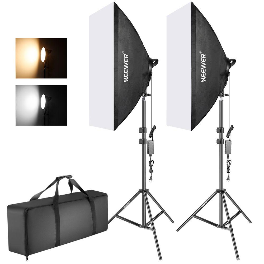 Fancier-LED-SLH4A--Kit-2-Lampi-LED-Bicolore-2700K-5500K---2-Softboxuri---2-Stative