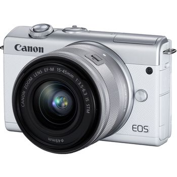Canon-EOS-M200-Aparat-Foto-Mirrorless-24.1MP-4K-Kit-cu-Obiectiv-15-45mm-F3.5-6.3-IS-Alb
