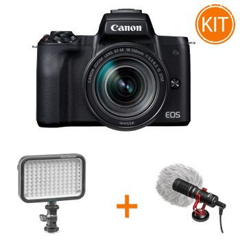 Kit-Canon-EOS-M50-cu-Obiectiv-EF-M-18-150-IS-STM---Microfon-Boya-BY-MM1---Lampa-Cullmann-CUlight-V-320DL