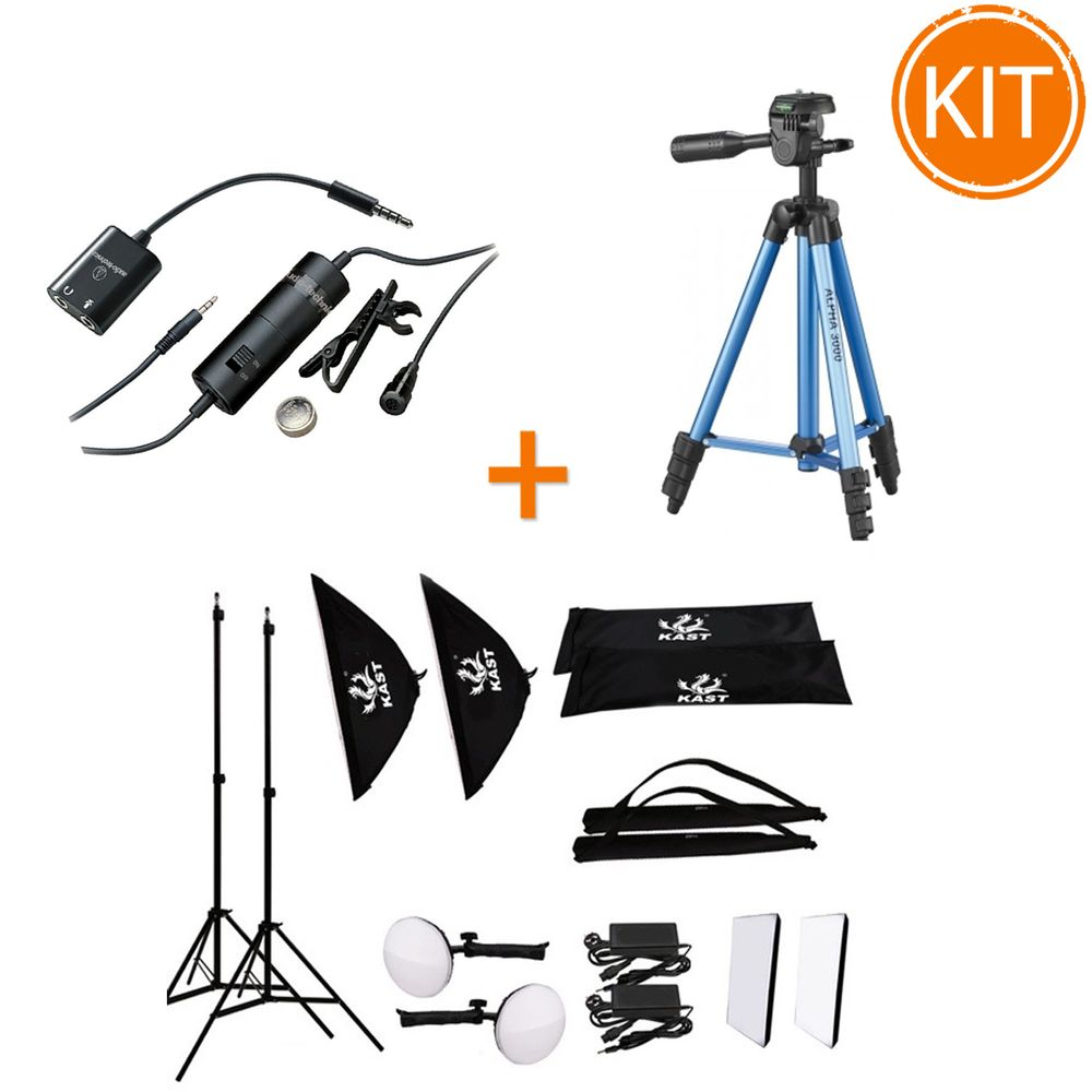 Kit-Vlogging-Culinar-cu-Microfon-lavaliera---Trepied---Set-Lampi-LED-cu-Stative-si-Softboxuri