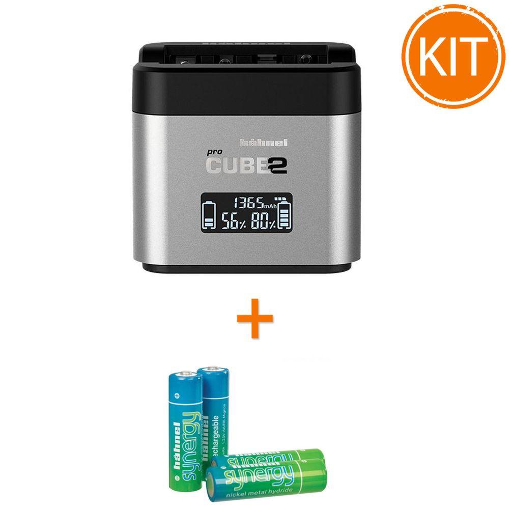 Kit-Hahnel-Pro-Cube-2-Incarcator-pentru-Canon---4-acumulatori-Synergy-R6-de-2500mAh