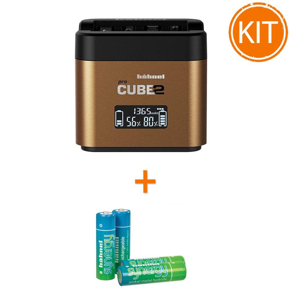 Kit-Hahnel-Pro-Cube-2-Incarcator-pentru-Olympus---4-acumulatori-Synergy-R6-de-2500mAh