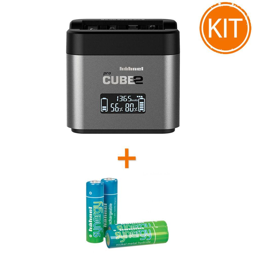 Kit-Hahnel-Pro-Cube-2-Incarcator-pentru-Nikon---4-acumulatori-Synergy-R6-de-2500mAh