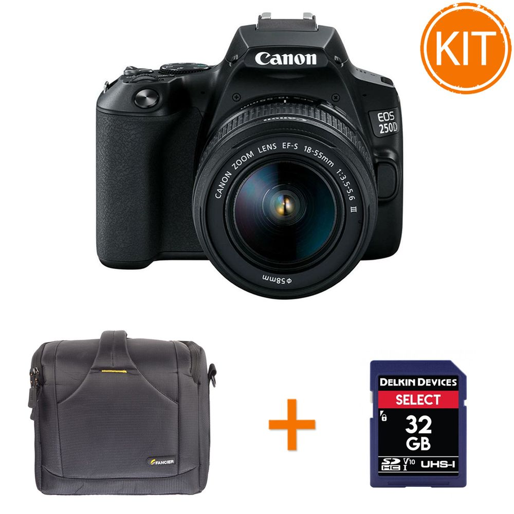Bundle-Canon-EOS-250D-cu-Obiectiv-EF-S-18-55mm-DC-Negru---Geanta-Foto-Fancier-BEE-60---Card-Memorie-SDHC-Delkin-Select-32GB