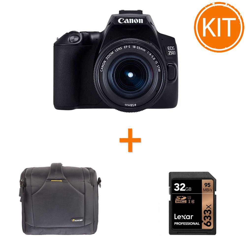 Kit-Canon-EOS-250D-cu-Obiectiv-EF-S-18-55mm-IS-STM---Geanta-foto-Fancier-BEE-60---Card-memorie-Lexar-SDHC-32GB-633x