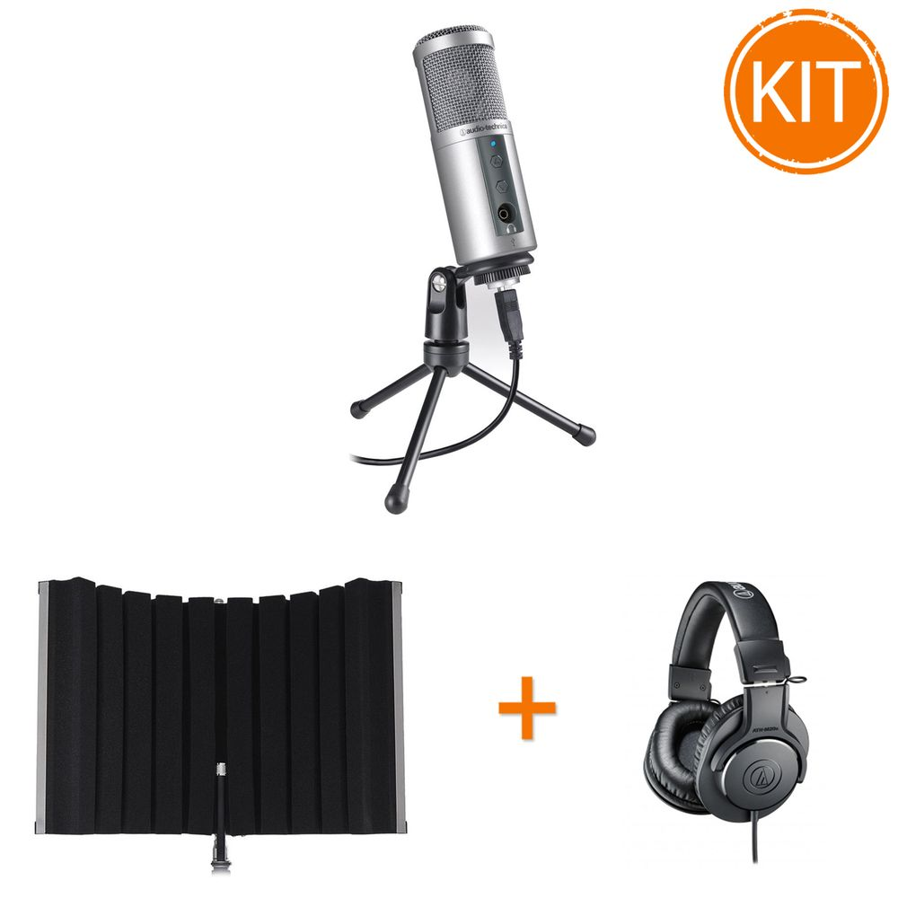 Kit-Podcast-cu-Microfon-Audio-Technica-ATR2500USB---Panou-Acustic-Marantz---Casti-ATH-M20x