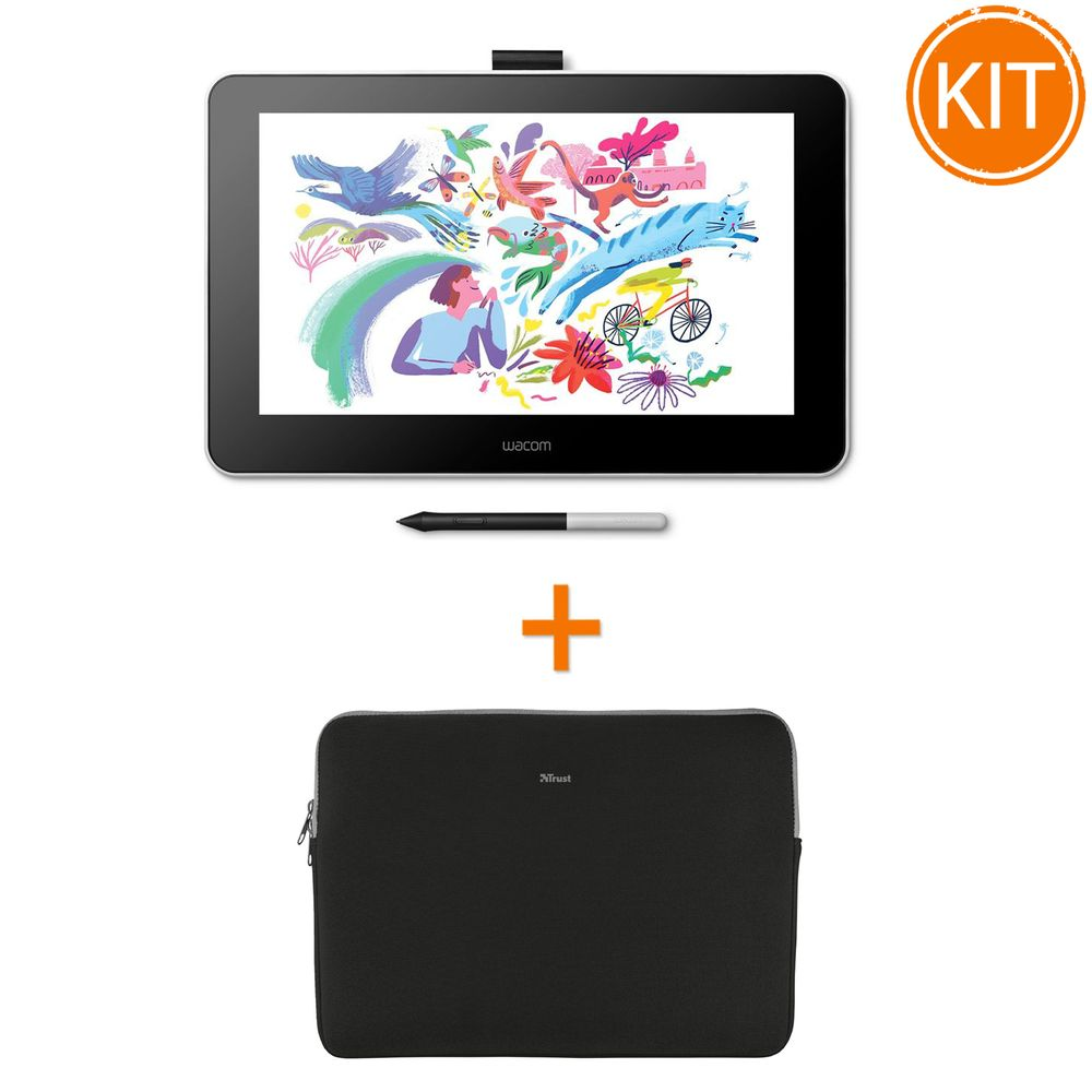 Bundle-Wacom-One-Creative-Pen-Display-13-DTC133W0B---Husa-Trust-Primo-Soft-pentru-tablete-de-13