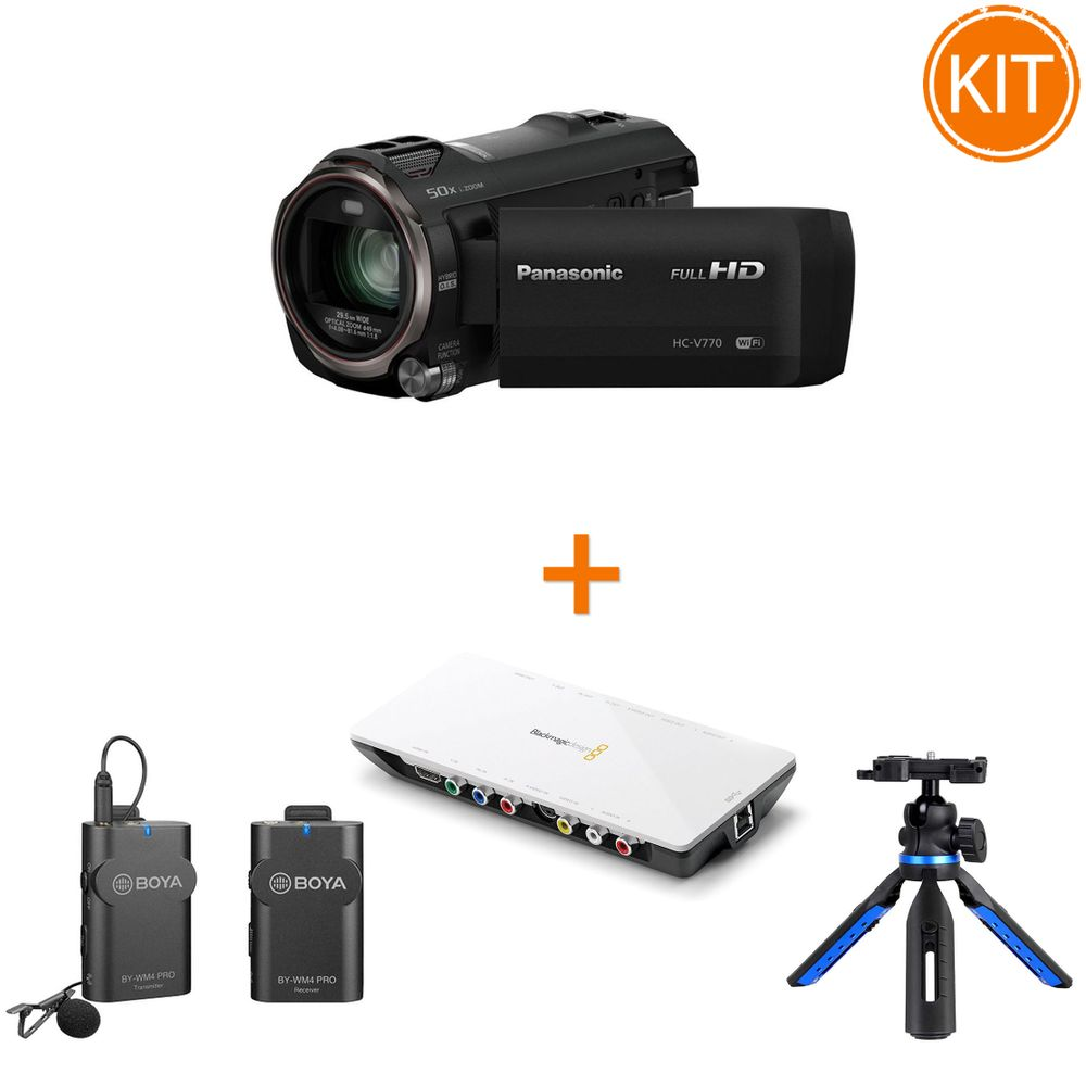 Kit-Streaming-Camera-Video---Placa-de-Captura---Microfon