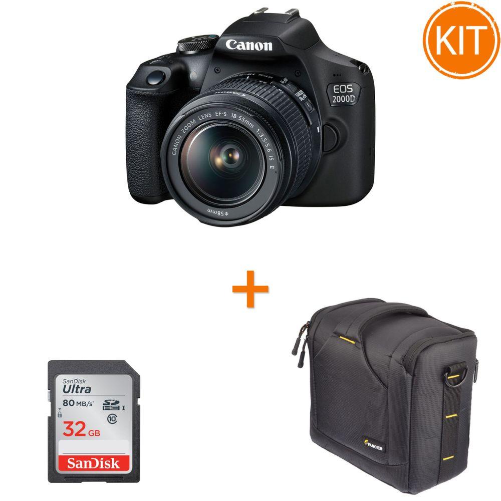 Kit-Canon-EOS-2000D-cu-Obiectiv-EF-S-18-55mm-IS-II---Geanta-Foto-Fancier-BEE-60-FB8006---Card-Memorie-SanDisk-SDHC-Ultra-32GB-80MB