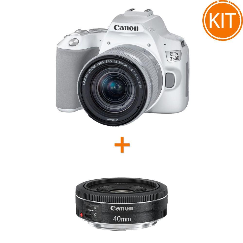 Kit-Canon-EOS-250D-cu-Obiectiv-EF-S-18-55mm-IS-STM-Alb---Canon-EF-40mm-f2.8-STM