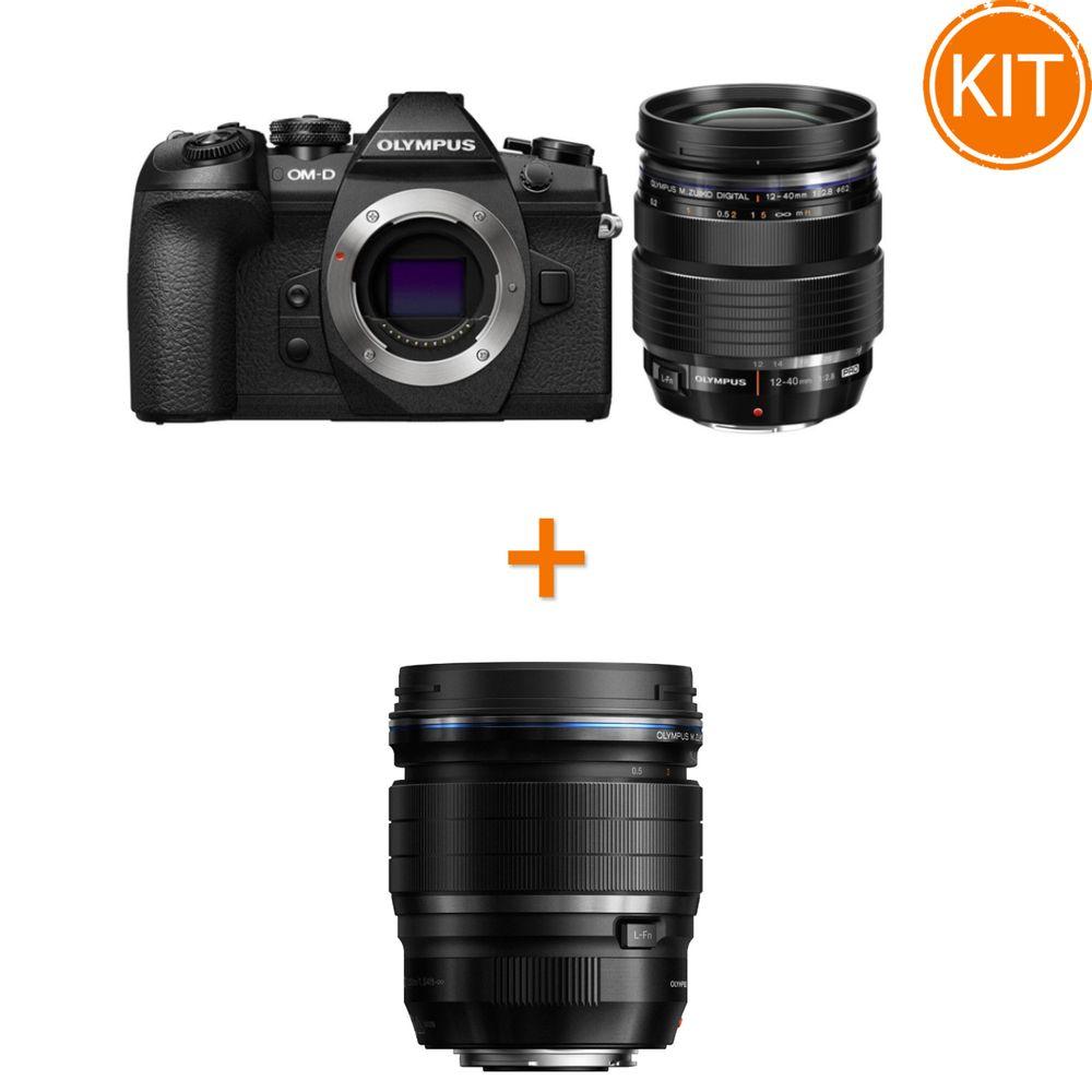 Kit-Olympus-OM-D-E-M1-MK-II-cu-Obiectiv-12-40mm-f2.8-PRO-Negru---Olympus-45mm-F1.2-ED-PRO