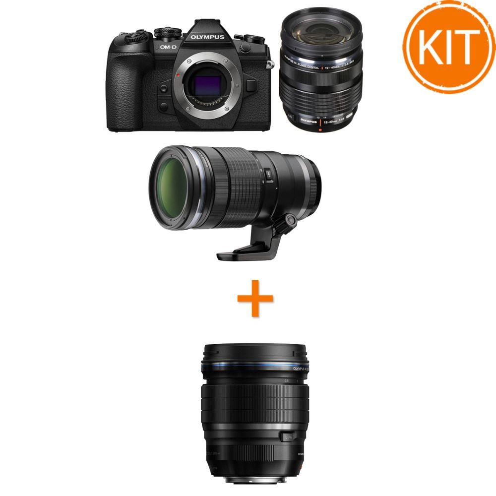 Kit-Olympus-OM-D-E-M1-MK-II-cu-Obiectiv-12-40mm-F2.8-si-40-150mm-F2.8-PRO-Negru---Olympus-45mm-F1.2-ED-PRO