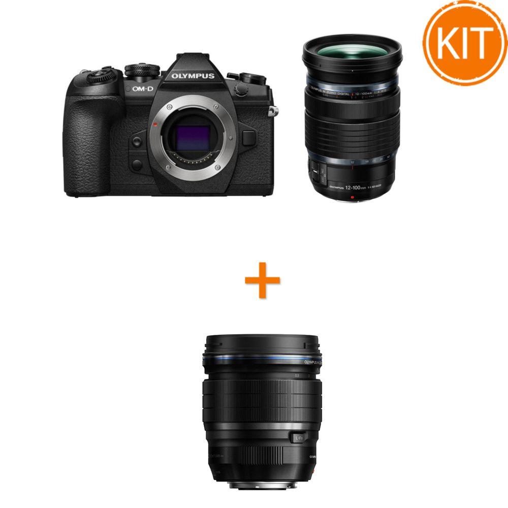 Kit-Olympus-OM-D-E-M1-MK-II-Aparat-Foto-Mirrorless-20MP-MFT-4K-Kit-cu-Obiectiv-12-100mm-f4-IS-PRO-Negru---Olympus-45mm-F1.2-ED-PRO